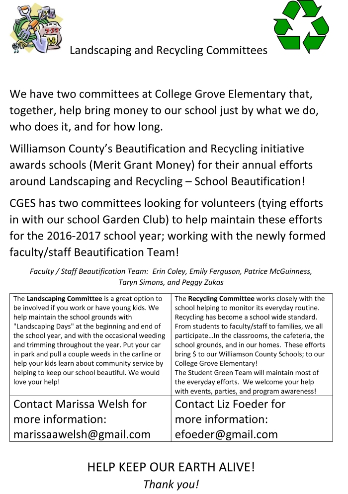 CGES Landscaping and Recycling Committees flyer